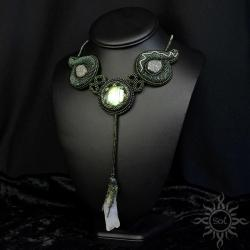 elficki,leśny,labradoryt,kwarc,roślina,zielony, - Naszyjniki - Biżuteria