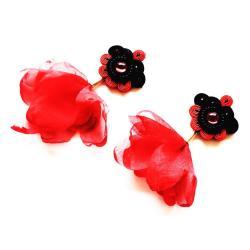 sutasz,soutache,szyfon,kwiaty,z kwiatami - Kolczyki - Biżuteria