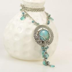 naszyjnik,wisior,wire-wrapping,turkus,niebieski - Naszyjniki - Biżuteria