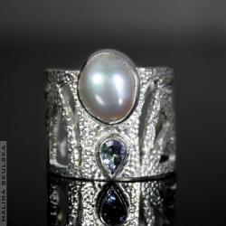 pierścionek art deco,luksusowy,tanzanit,perła - Pierścionki - Biżuteria