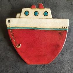 statek czerwony na ściane,do dziecięcej łazienki - Ceramika i szkło - Wyposażenie wnętrz