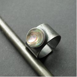 srebro,muszla,surowy,sygnet,masywny - Pierścionki - Biżuteria