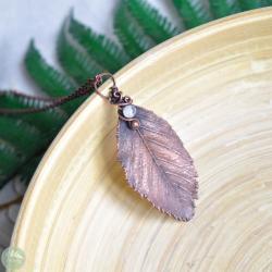 wisior liść,miedziany wisior,naszyjnik liść,boho - Naszyjniki - Biżuteria