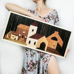 Miasto,boho,drewniany obraz,unikat - Obrazy - Wyposażenie wnętrz