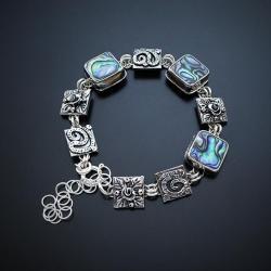 srebrna,bransoletka,z kwiatami,z masą perłową - Bransoletki - Biżuteria