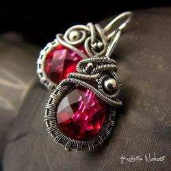 nehesi,kolczyki,srebre,srebra,wire wrapping,cherry - Kolczyki - Biżuteria