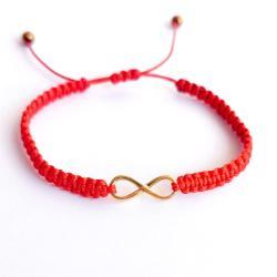 Bransoletka Czerwona NIESKOŃCZONOŚĆ POZŁACANA - Bransoletki - Biżuteria