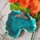 Ceramika i szkło liść,liść ceramiczny,turkusowa podstawka