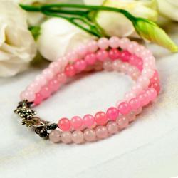 Srebrna bransoletka z różowych kamieni,kobieca - Bransoletki - Biżuteria