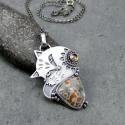 duży,lis,lisek,oryginalny,autorski,leśny, - Naszyjniki - Biżuteria