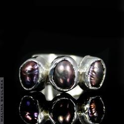 perła,regulowany,młotkowany,oryginalny - Pierścionki - Biżuteria