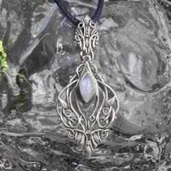 elfi,elficki,kamień księżycowy,błękitny,liście - Wisiory - Biżuteria