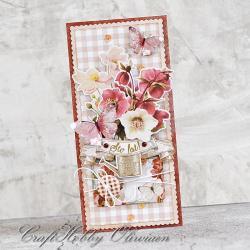urodziny,kartka,życzenia,kwiaty - Kartki okolicznościowe - Akcesoria
