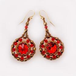 Kolczyki Rubinowe Słońce Swarovski Złote - Kolczyki - Biżuteria