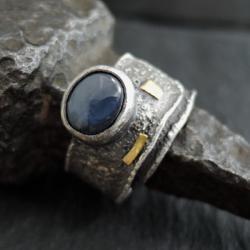 srebro,surowy,szafir - Pierścionki - Biżuteria