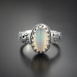 srebrny,pierścionek,z opalem etiopskim - Pierścionki - Biżuteria