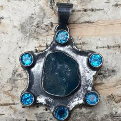 APATYT,srebrny,blask,srebro,błękit,mineralny,topaz - Wisiory - Biżuteria