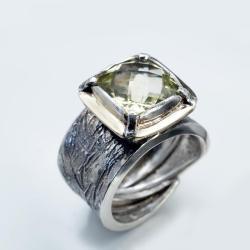 pierścionek z prasolitem ze złotem - Pierścionki - Biżuteria
