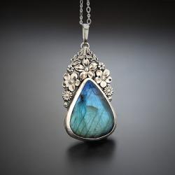 srebrny,naszyjnik,z niebieskim labradorytem - Naszyjniki - Biżuteria