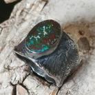 Pierścionki sygnet opal,srebrny z opalem,boulder,zieleń,retro