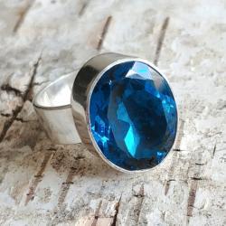 królewski pierścień z topazem,srebro,klejnot - Pierścionki - Biżuteria