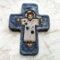 ikona ceramiczna,prezent na chrzciny,krzyż - Ceramika i szkło - Wyposażenie wnętrz