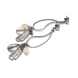 piórka,wiszące,natura - Kolczyki - Biżuteria