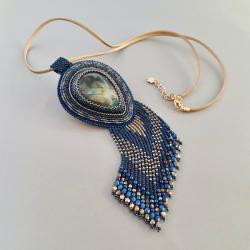 baśniowy naszyjnik z labradorytem,haft koralikowy - Naszyjniki - Biżuteria