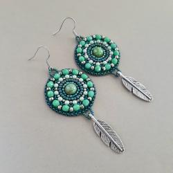 kolczyki turkusowe,haft koralikowy - Kolczyki - Biżuteria