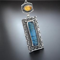 srebrny,naszyjnik,z labradorytem,geometryczny - Naszyjniki - Biżuteria