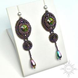 fioletowe,długie,wieczorowe,efektowne,swarovski, - Kolczyki - Biżuteria