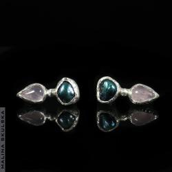 perła,kwarc różowy,sztyfty,delikatne,eleganckie - Kolczyki - Biżuteria
