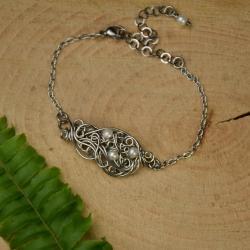 bransoletka,regulowana,perła,perły,wire wrapping - Bransoletki - Biżuteria
