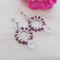 srebro,klasyczna biżuteria,granat,JewelsbyKT - Kolczyki - Biżuteria