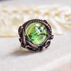 pierścionek,miedź,szkło,zielony pierścionek,duży - Pierścionki - Biżuteria