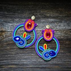 duże lekkie kolczyki,kolorowe kolczyki,sutasz - Kolczyki - Biżuteria
