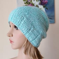 czapka na drutach,rękodzieło,klasyczna czapka - Inne - Dodatki