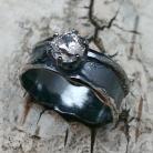 Pierścionki cyrkonia,retro,srebrny,srebro,blask,unikat,surowy