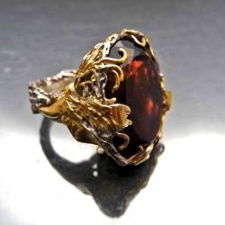 ametryn,duży pierścień,sygnet,ptaki - Pierścionki - Biżuteria