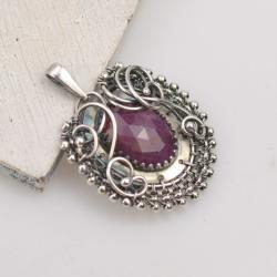 wisior,rubin,wire-wrapping,owalny,elegancki - Wisiory - Biżuteria