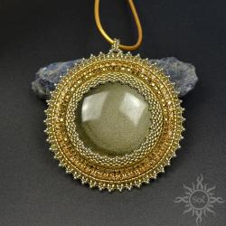 mandala,okrągły,na lato,złoty,słońce,obsydian,koło - Wisiory - Biżuteria