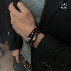 surowa męska bransoleta,koraliki na rękę - Dla mężczyzn - Biżuteria