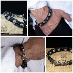 biżuteria surowa z czaszkami,męska bransoleta - Dla mężczyzn - Biżuteria