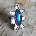 Pierścionki kyanit,srebrny,retro,niebieski,srebrzysty