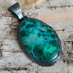chryzokola,srebrny,szary,zieleń,topaz,malachit - Wisiory - Biżuteria