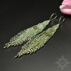 indiańskie,długie,z frędzlami,zielone,na lato,boho - Kolczyki - Biżuteria