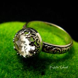 nehesi,pierścień,srebrny,kryształem,srebra - Pierścionki - Biżuteria