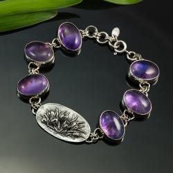 srebrna bransoletka,bransoletka z krokusami - Bransoletki - Biżuteria