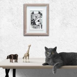 prezent,oprawione,kot,kociaki,humor - Ilustracje, rysunki, fotografia - Wyposażenie wnętrz
