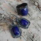 Komplety lapis lazuli,srebrny,srebro,szarości,granat,piryt